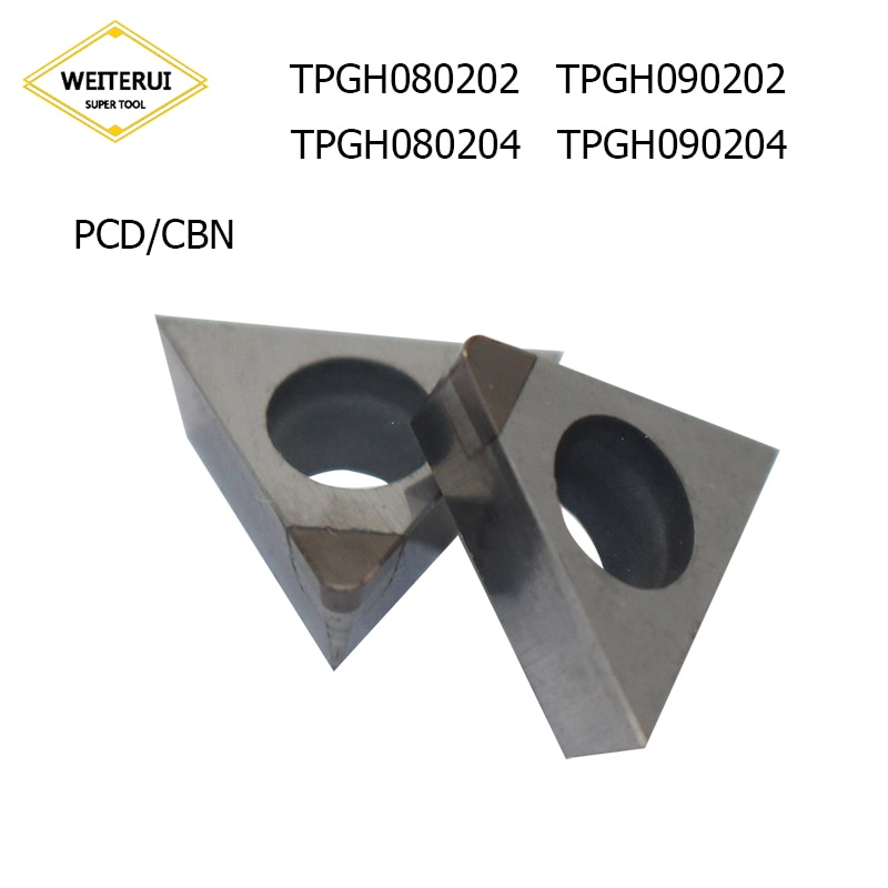2 unids/set TPGH080202 TPGH080204 TPGH090202 TPGH090204 PCD CBN de diamantes de hoja de la herramienta de torneado de herramienta de torno CNC