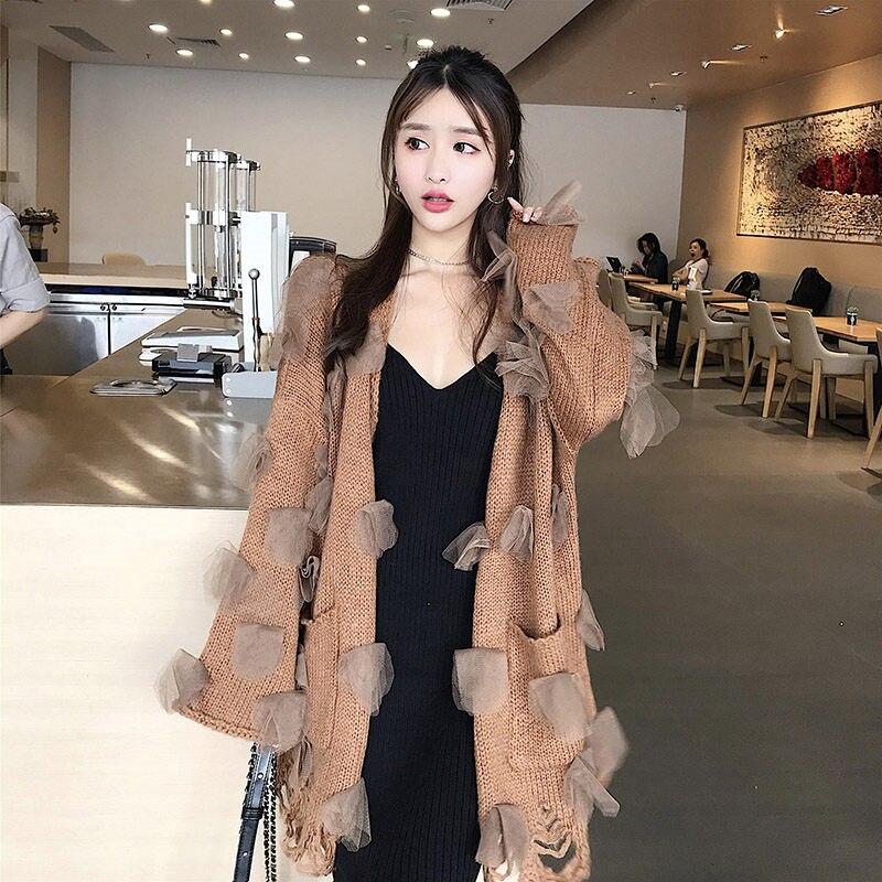 Autumn Retro Chic Fashion Sweater Cardigan Knitted Coat Women Loose Hole Stitching Long Jacket Oversized Casual Outerwear f1162