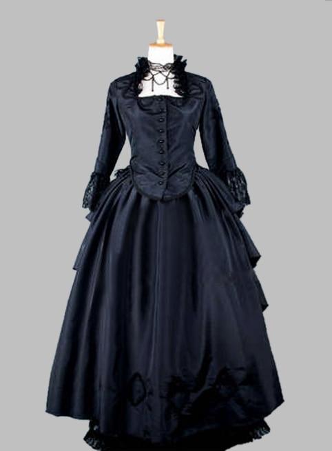 Two Piece Gothic Black Thai Silk Victorian 1870/90s Bustle Dress  Party Dress Cosplay Dress