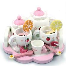 Enfants en bois ensemble de thé jouet meubles jouet réaliste maison de poupée cuisine jouets rose doux fraise semblant jouer Parent-enfant Games0.8k