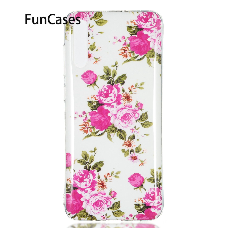 Floral suave cubierta del TPU para el caso de Samsung A70 exótico...