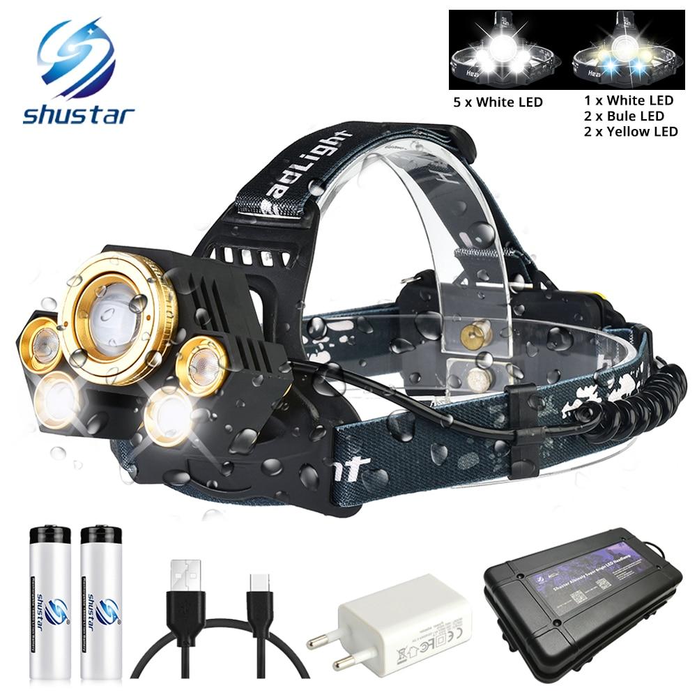 Powerful LED Headlamp Rotating zoom waterproof Headlight Using Anti-glare lens White light+yellow light+blue light