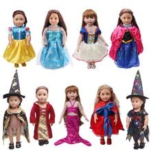 18 pouces filles poupée vêtements cour sorcière costume princesse blanche neige Anna robe américaine nouveau-né jupe bébé jouets ajustement 43 cm bébé c76