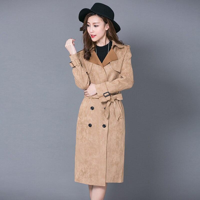 Chaqueta larga de abrigo de ante de mujer nueva de doble botonadura cárdigan primavera Otoño de punto abierto abrigo largo entallado Kimono Outwear