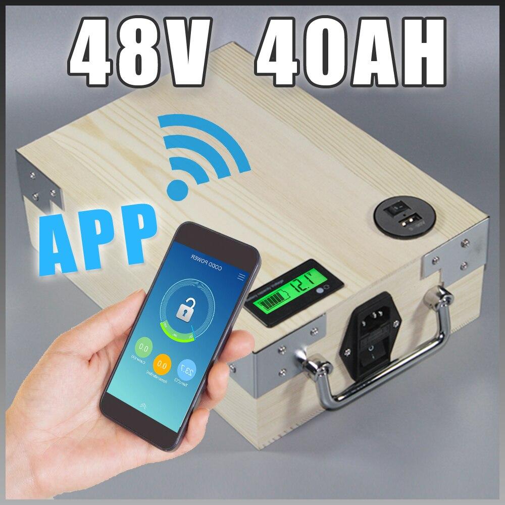 App 48V 40Ah batería de litio de bicicleta eléctrica + BMS cargador Bluetooth GPS control de puerto USB de 5V paquete scooter bicicleta eléctrica