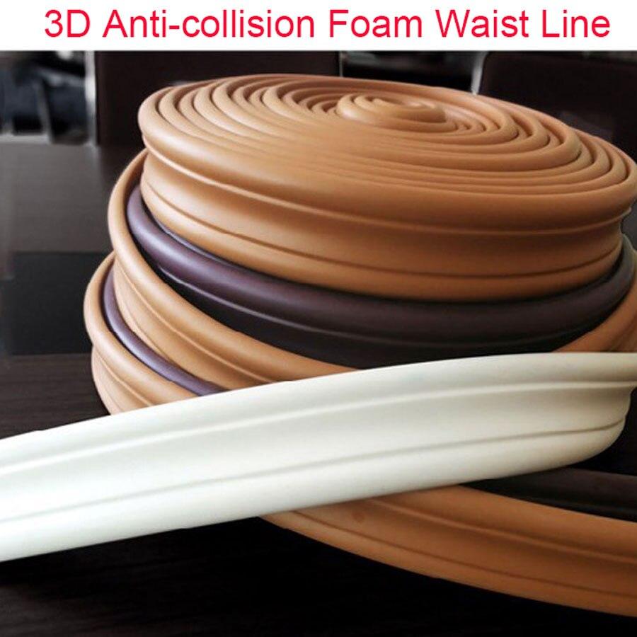 3D Anti-colisión espuma línea de cintura pared adhesivo papel tapiz borde tira techo niños habitación hogar pared líneas decorativas