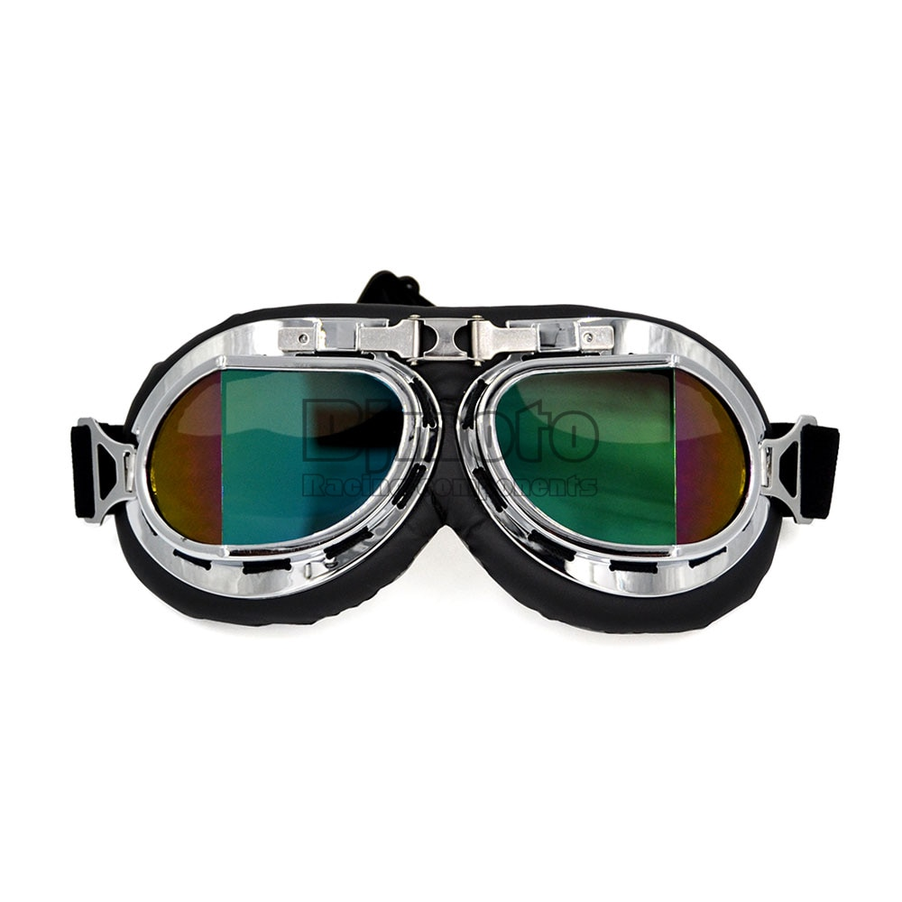 BJMOTO Motorcycle Motocross ATV Scooter Helmet glasses goggles Jet goggles Retro Vintage Pilot glasses Vintage Goggles motorcycle atv riding scooter driving flying protective frame clear lens portable vintage helmet goggles glasses for 2009 buell xb12r