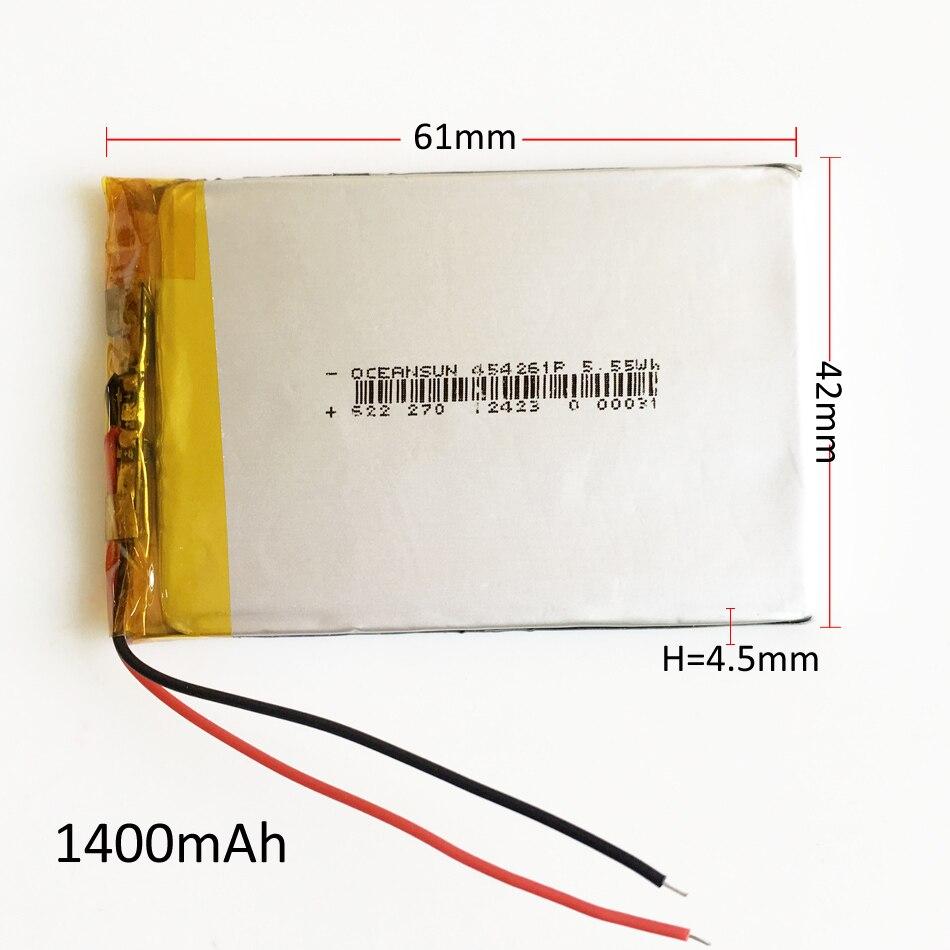 Литий-полимерная аккумуляторная батарея 3,7 В 1400 мА/ч, литий-полимерные аккумуляторы 454261 для Mp3, GPS, PSP, внешний аккумулятор, динамик, DVD, коврик для ноутбука
