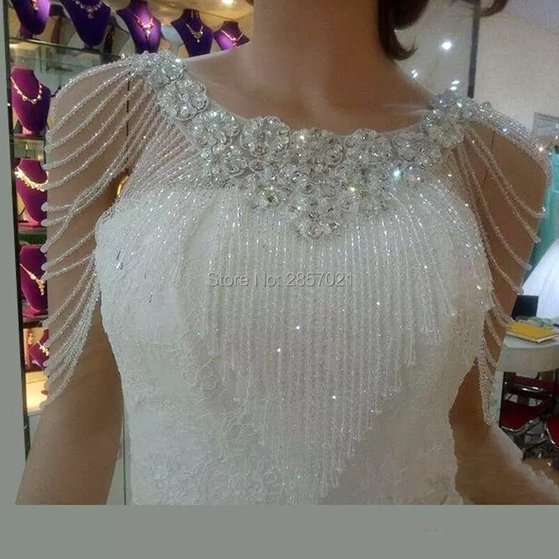 Hot Sale Ivory Wedding Bolero Short Beading Appliques Crystals Wedding Wrap Jacket for Evening Prom Fashion Women Accessories