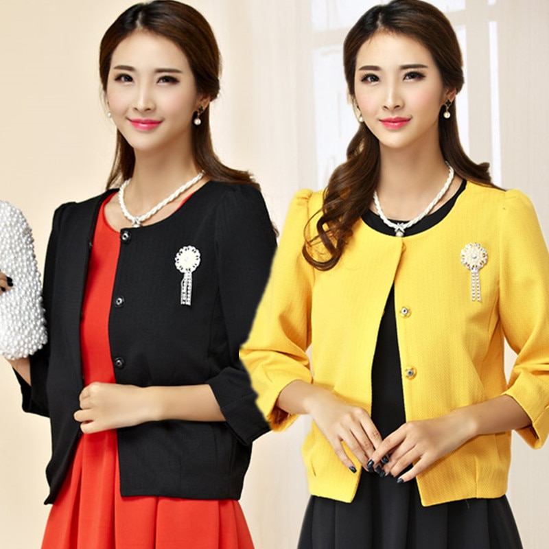 F ~ 3XL Plus Größe OL Stilvolle Kristall Brosche Bolero Crop Women kurze Bauweise Jacke Blazer Anzug Tops Puff 3/4 Hülse Oberbekleidung Tops
