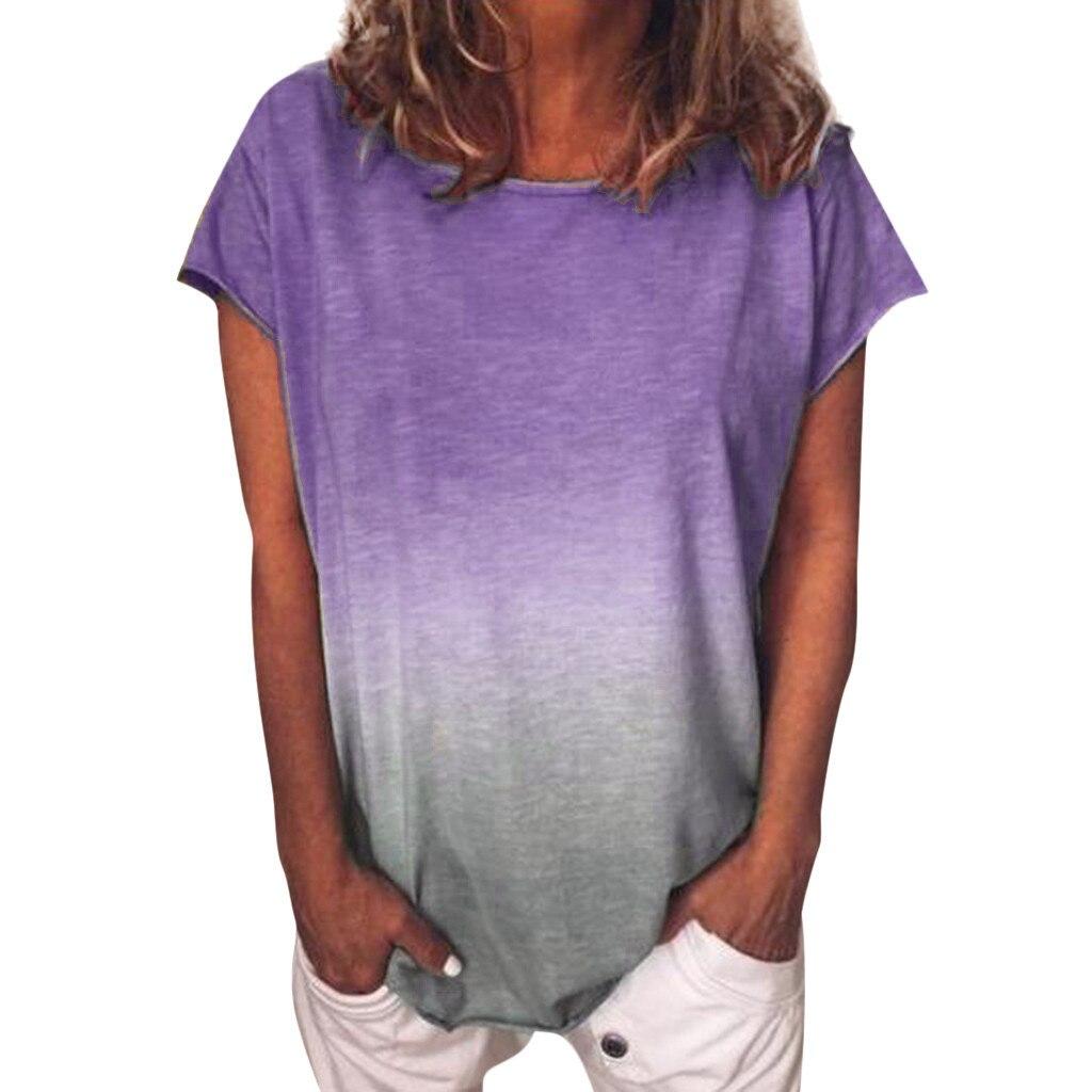 Frauen Farbverlauf Casual Sommer T Shirt Mode Kurzarm Weiblichen Tunika Tops Plus Größe S-5XL für Alle Damen футболка женск