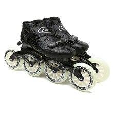 JK ZICO vitesse Patins à roues alignées en Fiber de carbone professionnel 4 roues Patins de course pour enfants adultes Patins Rollerblade SH48