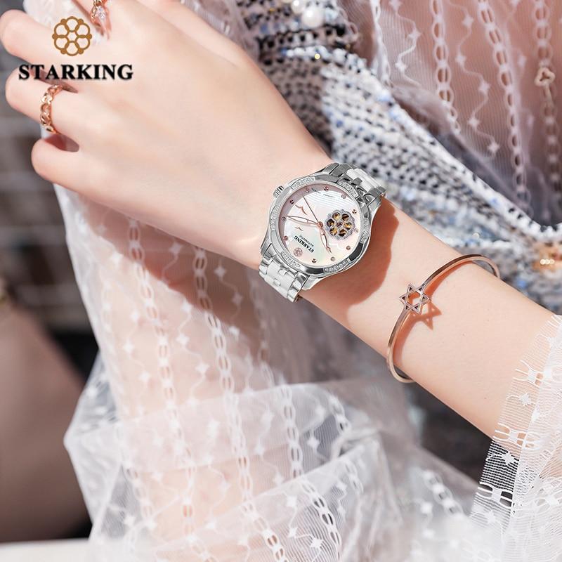 STARKING White Ceramic Women Watches Bracelet Sapphire Crystal Shell Dial Ladies Hollow Self-wind Mechanical Watch Elegance Relo enlarge