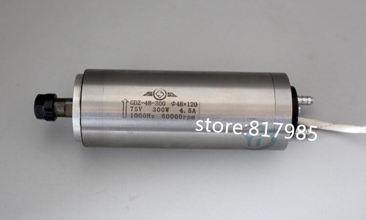 Haute qualité 300 w 75 V 4.5A 48x120mm 60000 tr/min 0.3KW CNC machine de gravure moteur de broche de refroidissement par eau
