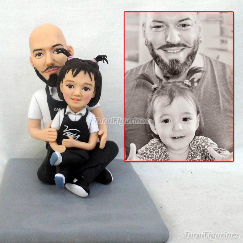 OOAK מיניאטורי בית בובות חימר פולימרי בובת פסלון בעבודת יד אב ובת מתמונה אמיתית פנים בובת מותאם אישית מתנת רעיונות