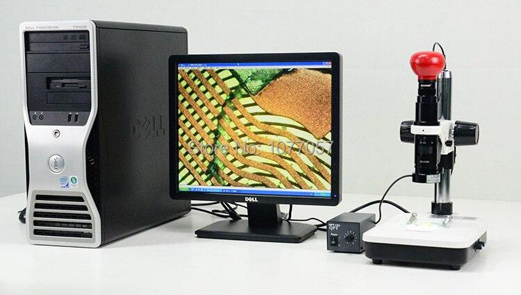Mejor venta 5,0 M/19x-135x Digital Mono vídeo con zoom microscopio lens + soporte + USB2.0 Cámara + arriba y abajo LED ringlight
