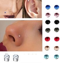 Cristal magnético pendiente de tuerca falso imán nariz labio stud no piercing tragus nariz Stud 8 par/pack