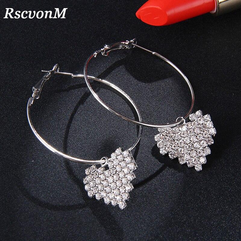 RscvonM 2018 Austria pendientes de cristal de boda para mujer Color plata circonita pendientes de aro de cristal joyería de moda para las mujeres brincos