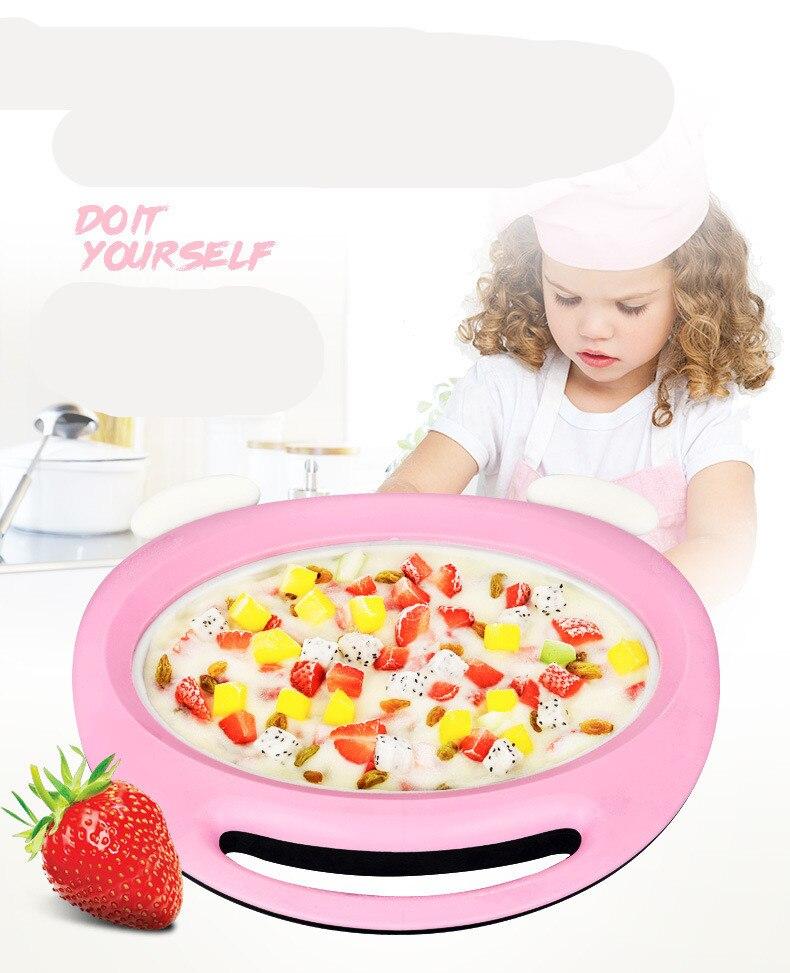 Máquina de hielo frito, mini máquina de yogur casera para niños, fritos, máquina de helado casera, bandeja de hielo frita