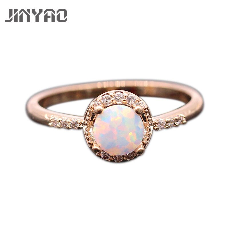 JINYAO hermosa joyería redonda de fuego ópalo y circón Color oro anillo de dedo de boda para mujeres joyería de fiesta de moda 5 colores