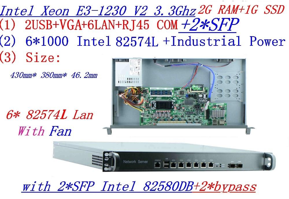 1U Firewall Intel Quad Core Xeon E3-1230 V2 3.3G with 8 Ports 6*1000M 82574L Gigabit Nic 2*  SFP 2G RAM 1G CF