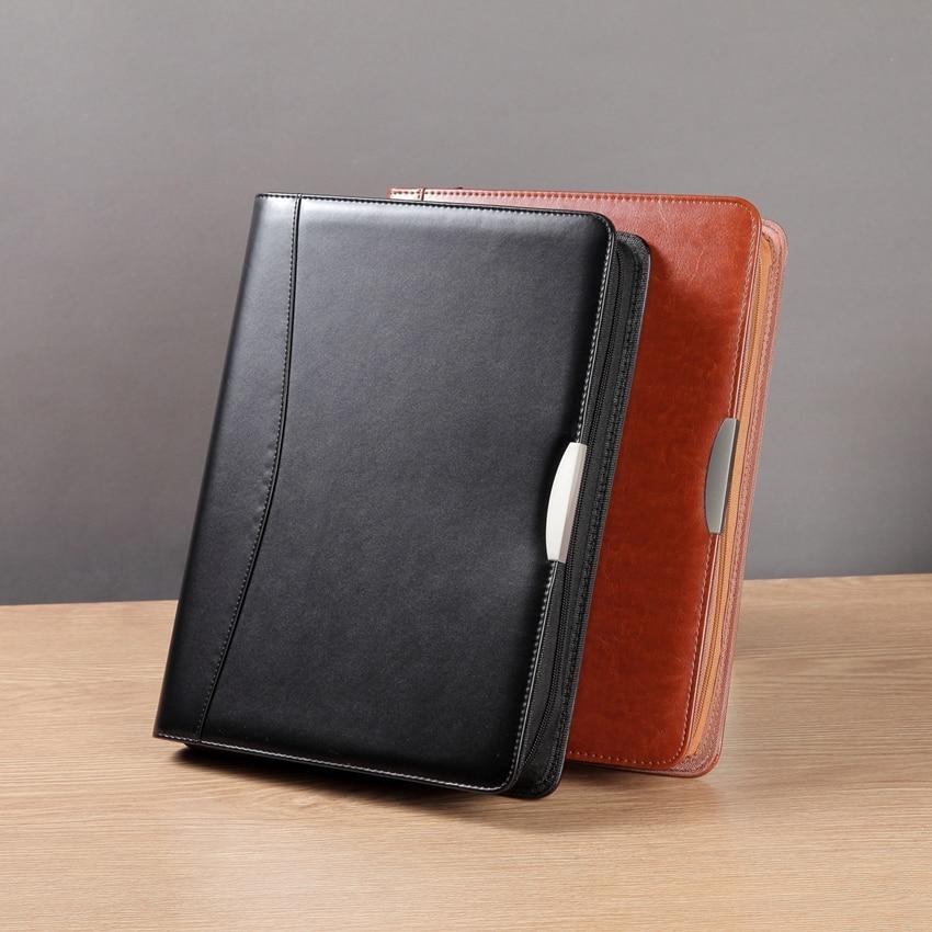 Multifuction A4 PU leather padfolio manager bag with zipper calculator ring binder portfolio documents folder case organizer