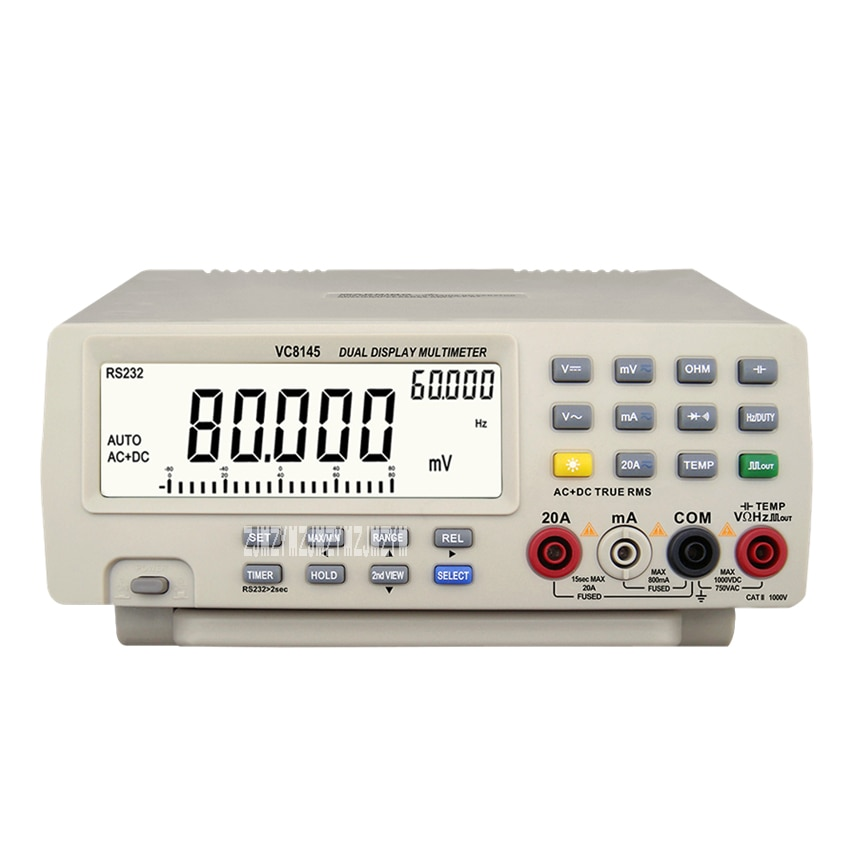 Nuevo multímetro Digital de sobremesa VC8145, multímetro de alta precisión con doble pantalla, multímetro Digital de Banco superior de 110 V-220 V