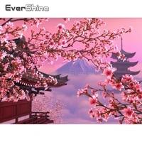 EverShine     peinture diamant japonais  image de paysage en strass  carre complet  fleurs de cerisier  decoration de la maison