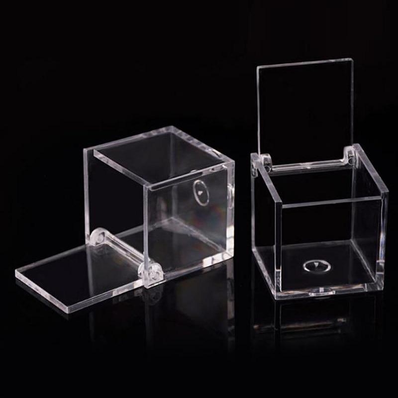 Caja de dulces de plástico transparente de grado alimenticio pequeña caja de plástico cuadrada abatible caja de almacenamiento de galletas de bocadillos F20172800