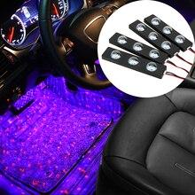 FORAUTO 4 stücke Auto LED Sternen Fuß Licht USB Atmosphäre Umgebungs DJ Gemischte Bunte Musik Rhythmus Ton Voice Control Laser lampe