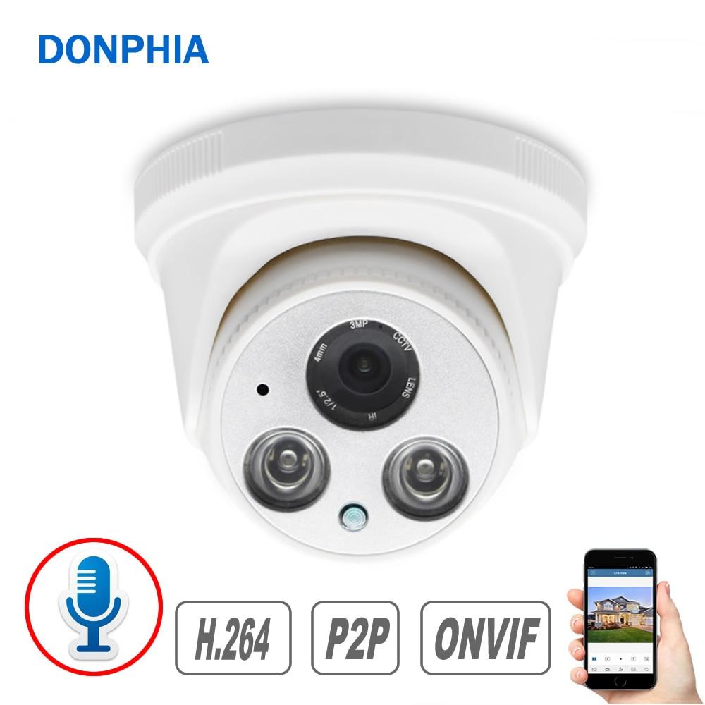 Аудио записывающая IP камера с микрофоном 1080P Камера Безопасности 2MP внутренняя для видеонаблюдения ИК ночного видения