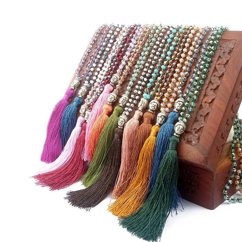 OAIITE étnicos larga borla declaración collar Buda colgante hecho a mano de Bohemia collar de perlas de cristal para las mujeres