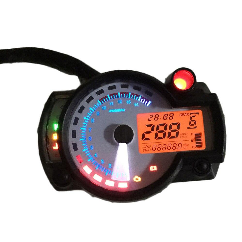 Tacómetro ajustable para motocicleta velocímetro LCD Digital odómetro Panel blanco 299 MPH/KPH Universal para todas las motocicletas TYB004