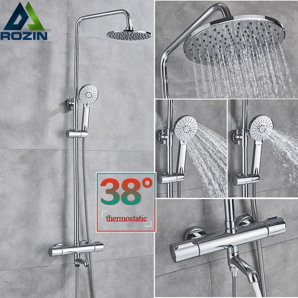 Cromo conjunto de chuveiro chuvas termostática banho misturador do chuveiro torneira montado na parede girar rega pode sistema torneira do chuveiro do banheiro