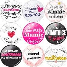 Jweijiao Franse 'Je Suis Une Maitresse Qui Dechire' Glas Cabochon Dome Merci Maitresse Voor Sleutelhanger Ketting Diy Charms Custom