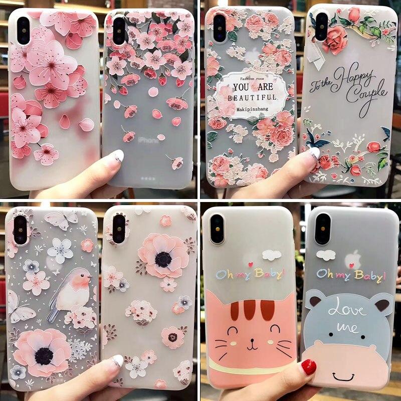 Paquete de 10 Uds para iPhone 7 funda de flores funda de silicona TPU suave para iPhone 5 y 5s SE i6 6s i7 i8 Plus funda de teléfono de relieve Floral