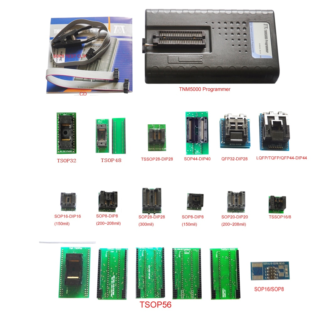 دعم K9GAG08U0E ، 2021 جديد TNM5000 USB EPROM مبرمج + 14 قطعة مآخذ + IC كليب ل NAND فلاش/EPROM/MCU/PLD/FPGA/ISP/JTAG/EEPROM