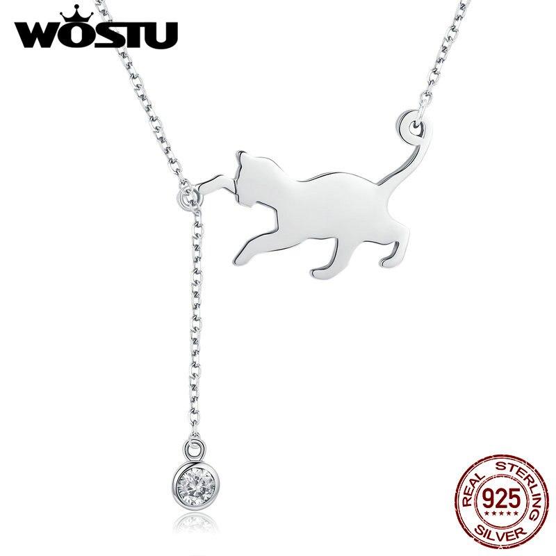 Wostu 100% real 925 prata esterlina buceta gato cz pingente colar para mulheres casamento noivado moda jóias presente bnn232
