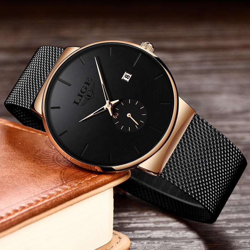 Relojes Hombre LIGE New Mesh Steel Men Watches Top Brand Luxury Ultra-thin Waterproof Quartz Watch Men Casual Sport Quartz Clock new men watches top brand luxury 50m waterproof ultra thin date clock male steel strap casual quartz watch men wrist sport watch