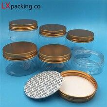 30 pçs frete grátis transparente plástico vazio frasco garrafas de ouro rosa tampa de alumínio claro spice creme doces recipiente banco