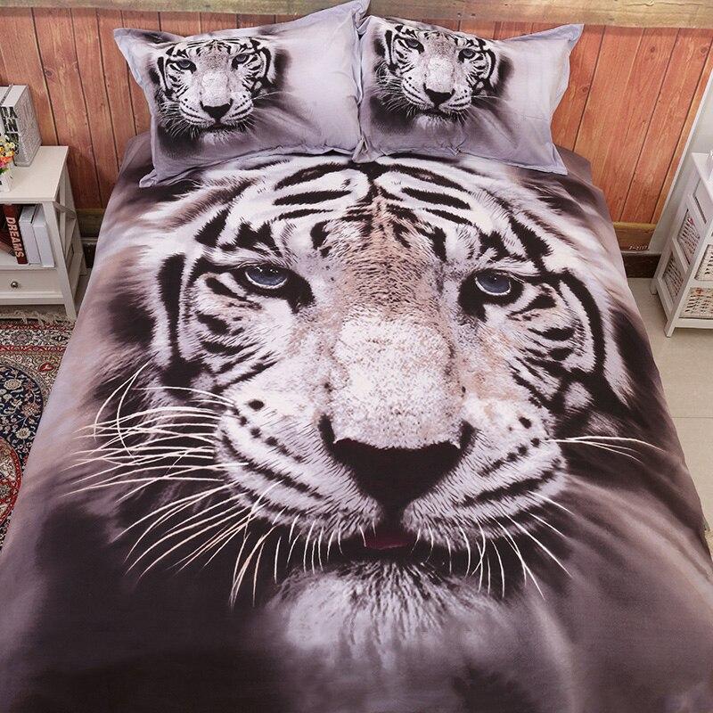 Juego de ropa de cama Wongsbedding 3D con estampado de tigre Animal, edredón, cama doble Queen, tamaño King Size 3/4 Uds., ropa de cama nueva sin edredón