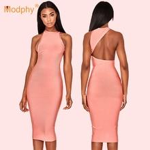 2019 summer new women's midi bandage dress sexy Bodycon pink sleeveless halter dress club celebrity evening party dress Vestidos