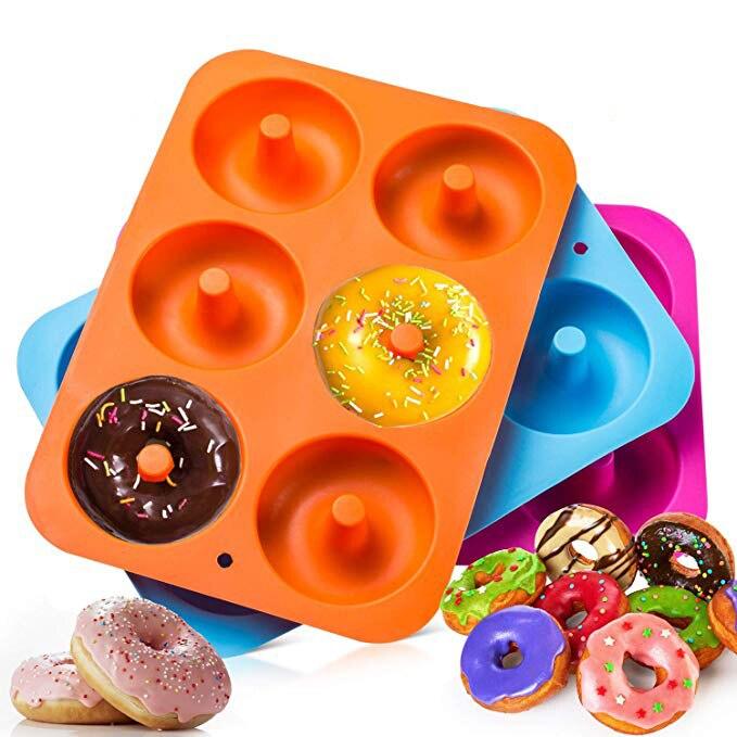 6 grades molde de cozimento de silicone donut assadeira bakeware donut diy donut bolo moldes ferramentas pastelaria sugarcraft