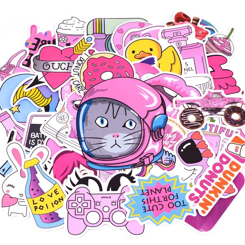 50pcs/pack Fashion Pink Girl Graffiti Stickers Kids Toy Sticker for DIY Luggage Laptop Skateboard Moto Car Waterproof Sticker