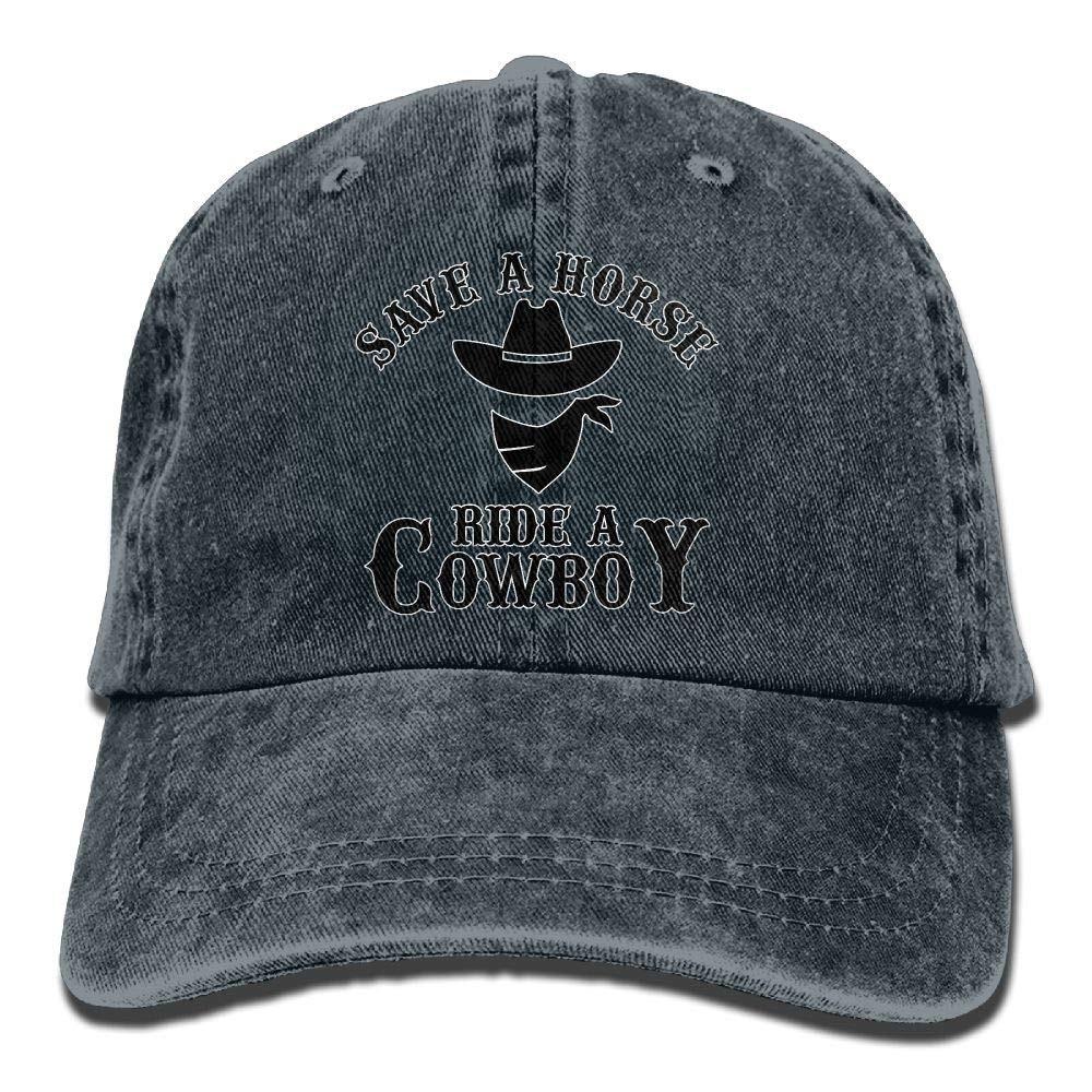 Unisex Washed Retro Denim Hats Adjustable Baseball Cap Save A Horse Ride A Cowboy Trendy Dad Hat Stetson Hat