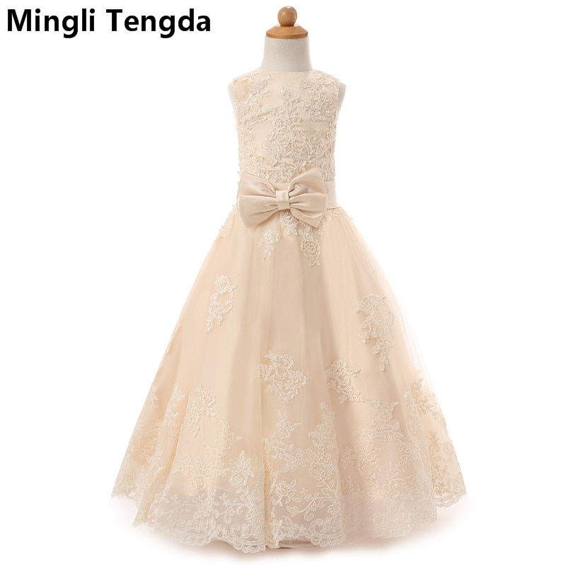 Mingli Tengda Sukienka Komunijna vestidos de niña de las flores para bodas chica adolescente de fiesta de boda largo Champagne vestidos de niña de las flores