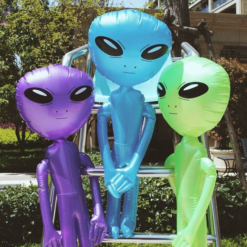 85cm/160cm/180cm/220cm Giant Alien Model Green Purple Blue ET Kids Adult Inflatable Toys Halloween Cosplay Party Supply Blow Up pikaalafan giant inflatable toys halloween easter funny doll inflatable props terror ghost hug people inflatable clothes cosplay