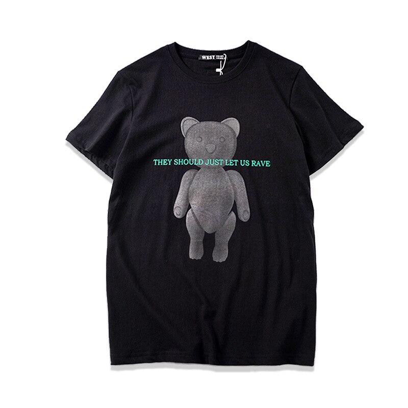 2019 ropa de verano para hombre, Camiseta con estampado de oso, de manga corta suelta, cuello redondo, de algodón 100%, ropa de calle, Camiseta Masculina B272