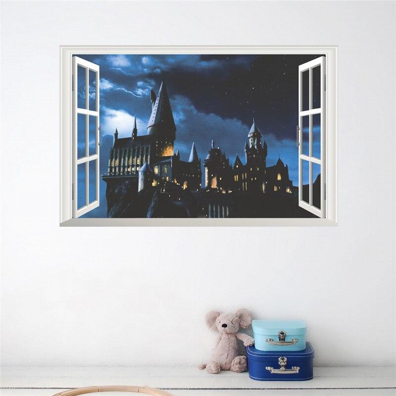 Etiqueta engomada de la pared del castillo de la ventana 3d harry potter pvc calcomanías cartel mural arte decoración del hogar