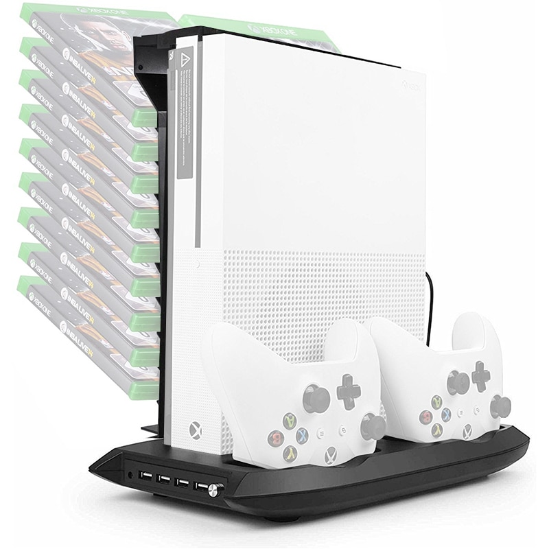 Yoteen Vertical Stand Cooling Fan for XBox One S Controller Charging Stand with Game Storage Controller Charger Game Disk Holder